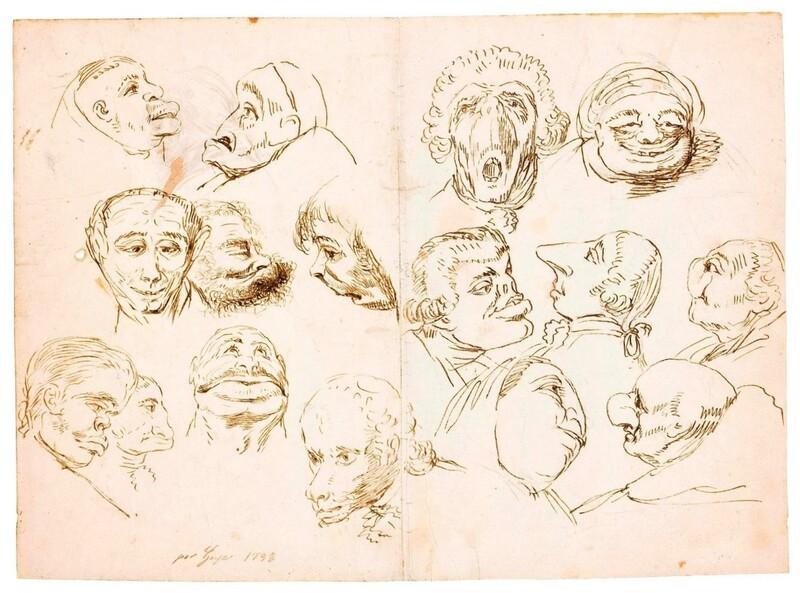 Dieciséis cabezas caricaturescas