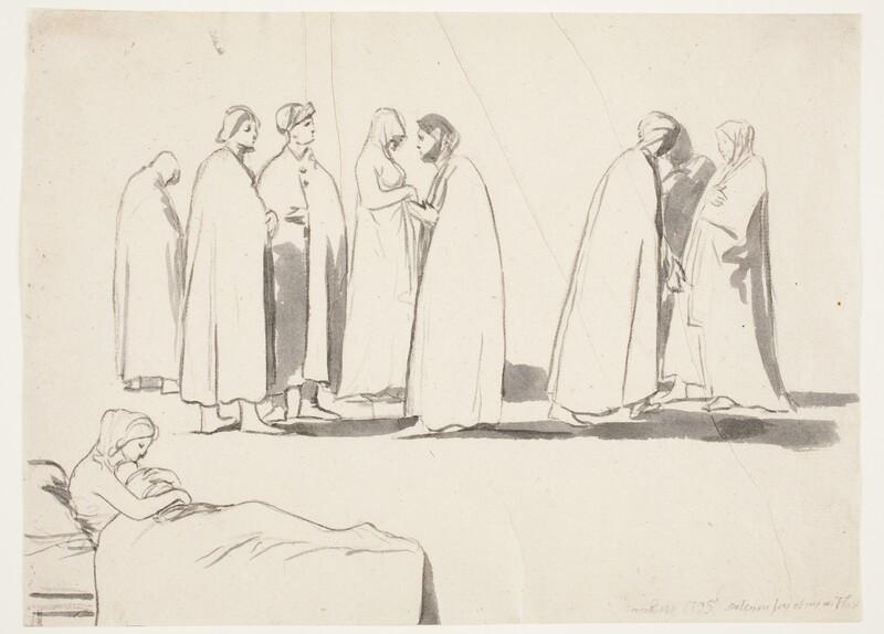Tres grupos de figuras y entre ellos una madre en el lecho con su hijo