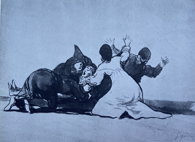 Cuatro figuras rodeando a un moribundo