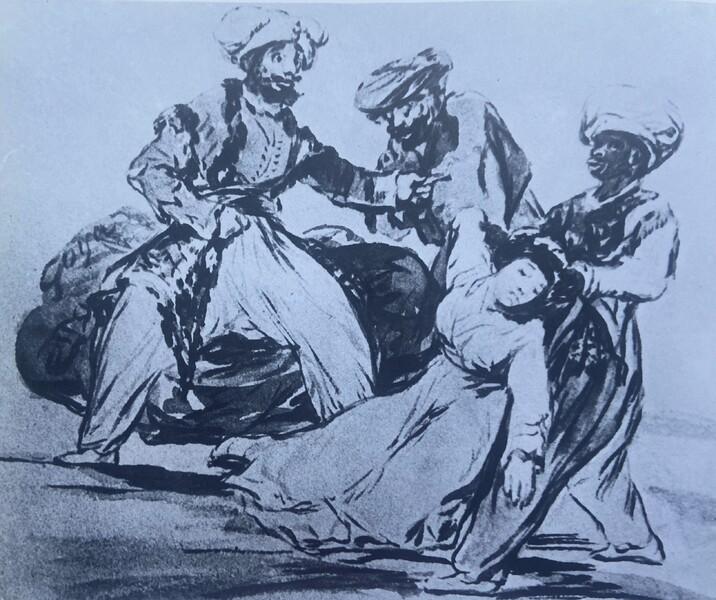Tres moros raptando a una mujer