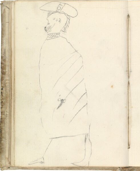 Figura barbada de perfil, con capa y gorro (atribuido a Javier Goya)