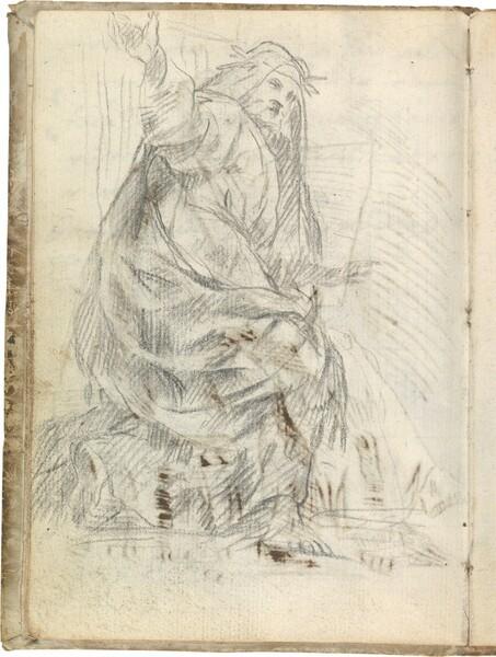 Sacerdote antiguo, semiarrodillado hacia la derecha, con los brazos extendidos y coronado de hojas