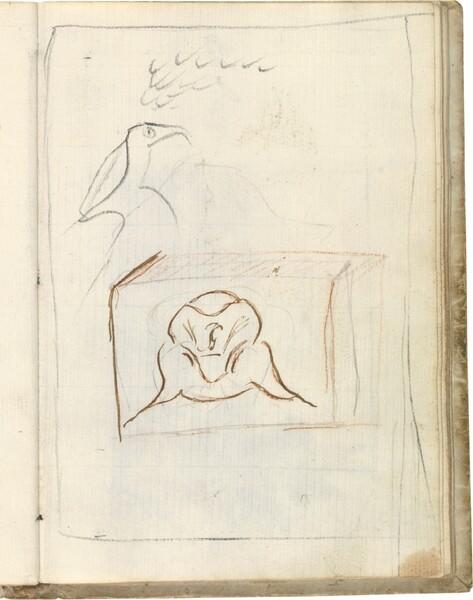 Apunte de perfil. Hexaedro con dibujo (atribuido a Javier Goya)