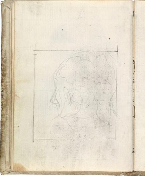 Tanteo de cabeza de perfil en un recuadro (atribuida a Javier Goya)