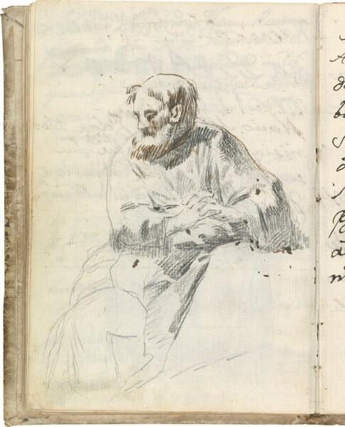 Figura sedente de fraile tonsurado y barbado