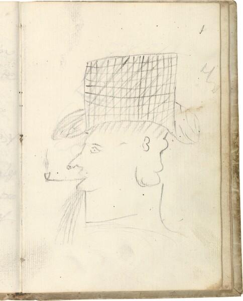 Cabeza de perfil con sombrero de copa alta, fumando en pipa (atribuido a Javier Goya)