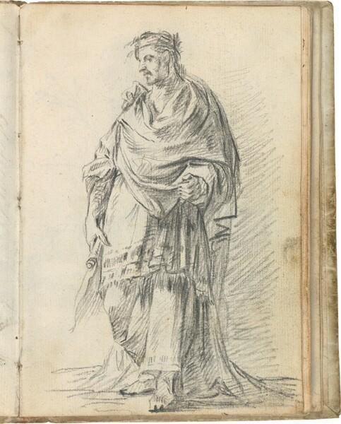 Juez romano, con un rollo en la mano derecha y coronado de laurel