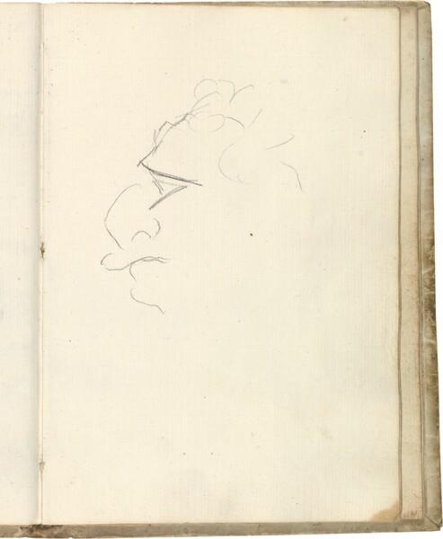 Tanteo de cabeza caricaturesca de perfil (¿Javier Goya?)