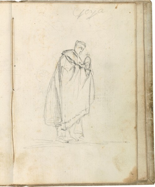 Figura masculina de perfil con manto, portando un píxide o copón