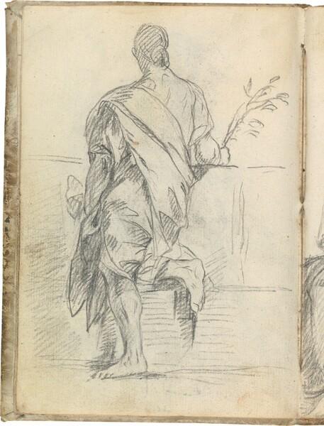 Figura masculina de espaldas, con una rama en la mano derecha y apoyada en un pretil