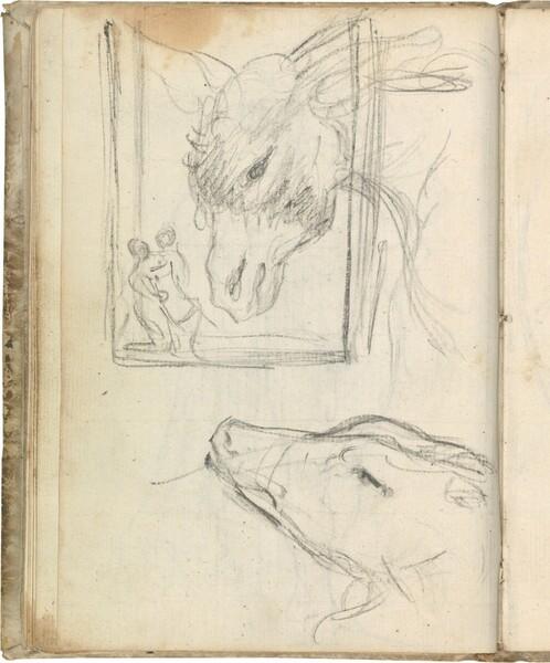 Cabeza de asno (en marco y con figuras) y cabeza de galgo