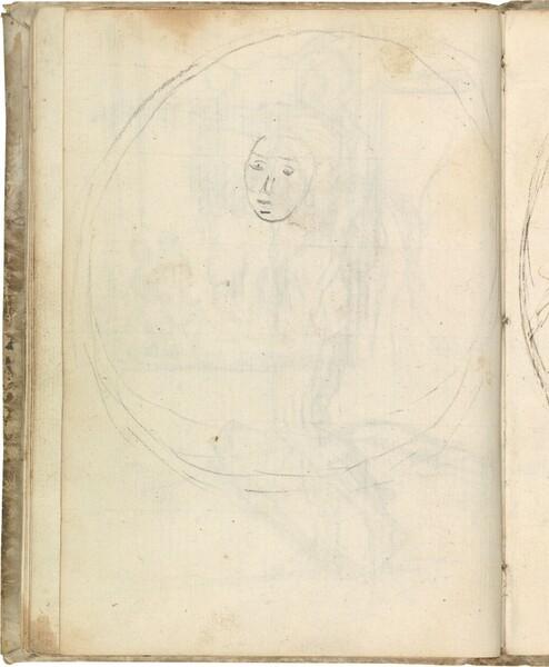 Rostro esquemático enmarcado en un óvalo (atribuido a Javier Goya)