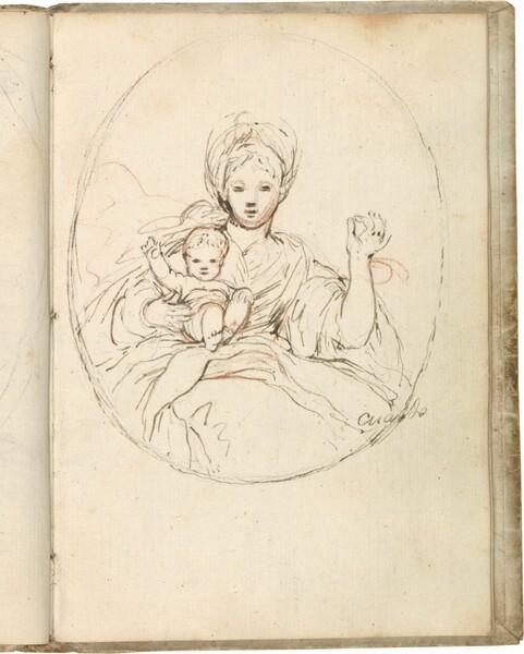 Virgen con el Niño sentado en su regazo, enmarcada en un óvalo