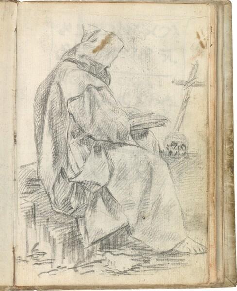 Cartujo leyendo, sentado de perfil ante un crucifijo y una calavera