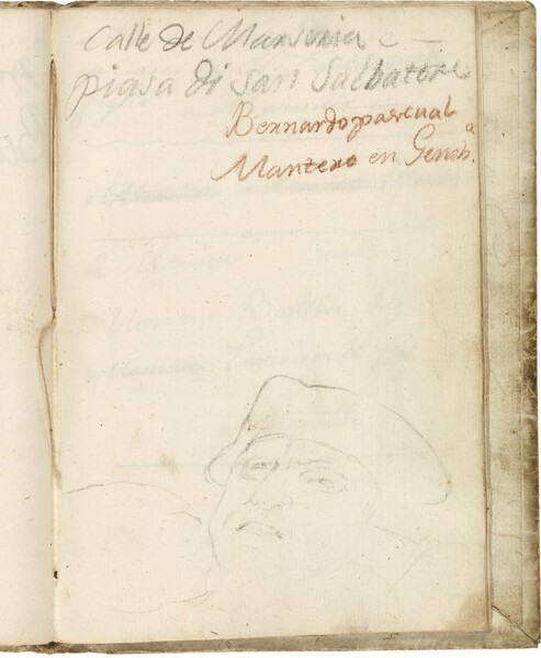 Apunte de cabeza masculina tocada con sombrero de tres picos