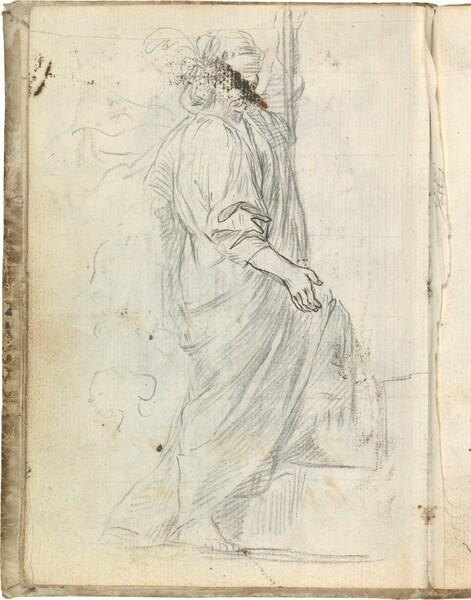Figura masculina vestida con túnica y toga ascendiendo unas escaleras