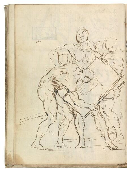 Escena alegórica con desnudos masculinos en una contienda artística
