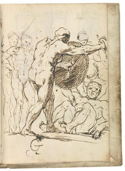 Escena alegórica con desnudos masculinos luchando