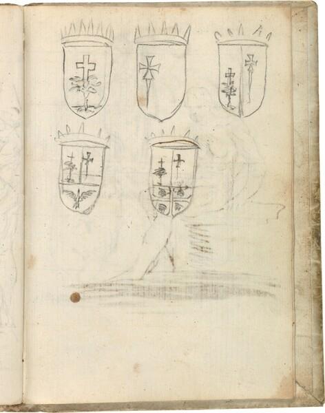 Cinco variantes del escudo de armas de Aragón