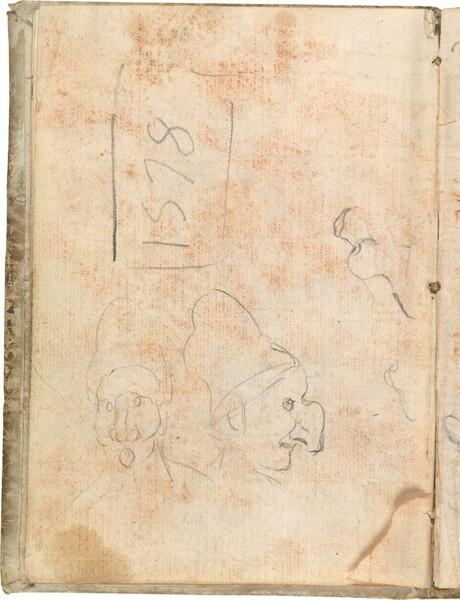 Dos apuntes de cabezas con máscara de la Commedia dell'arte, y perfil de cabeza infantil
