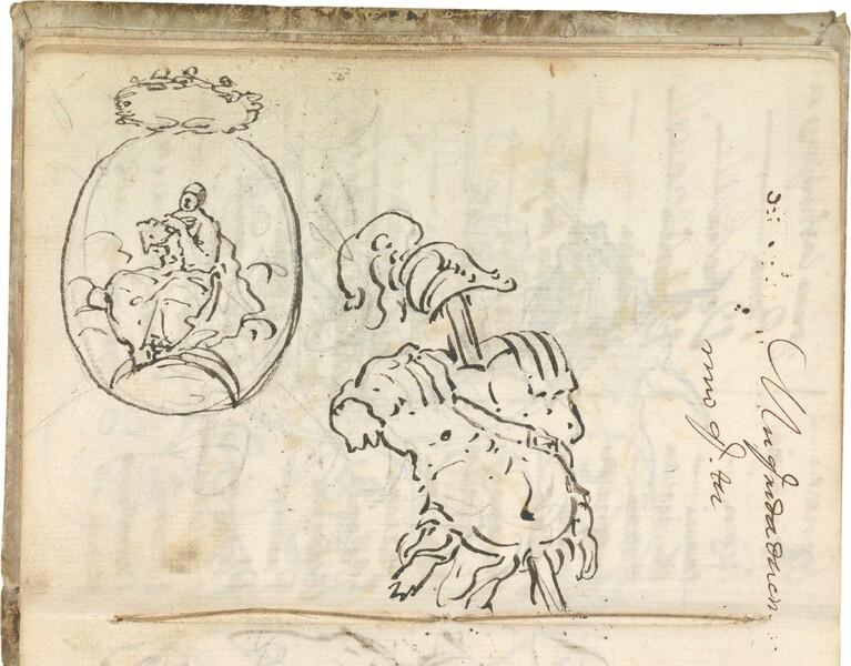 Estudio de coraza y casco a la antigua, en percha. Óvalo con imagen de la Inmaculada