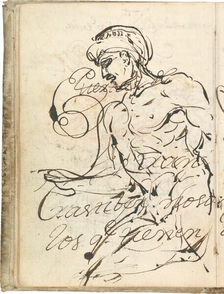 Desnudo masculino con turbante, sentado de medio perfil hacia la izquierda