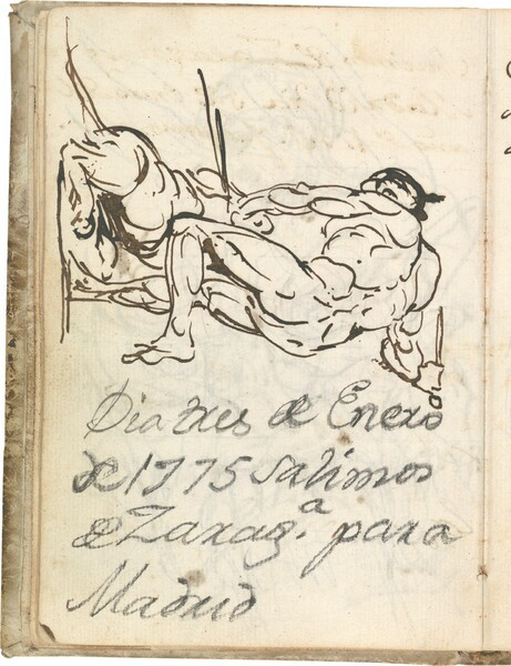 Figura masculina desnuda, de espaldas, luchando con un león
