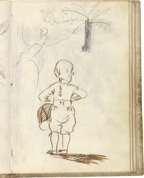 Niño de espaldas tocando el tambor. Árbol y pájaro