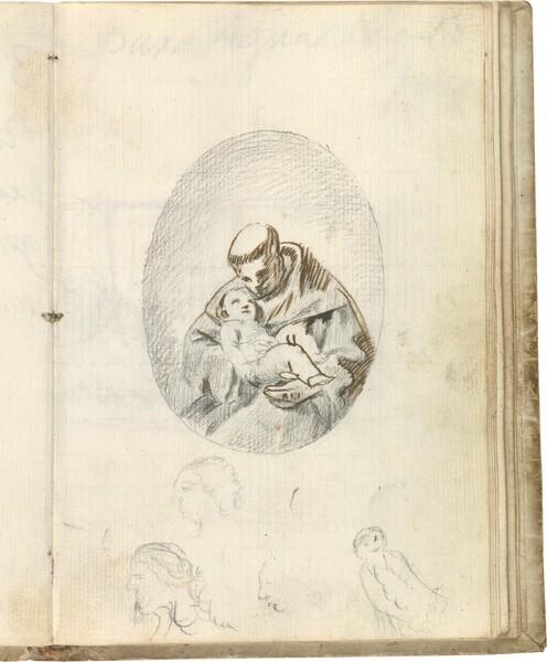 San Antonio de Padua con el Niño Jesús. Tres cabezas de perfil y figura sentada sonriendo