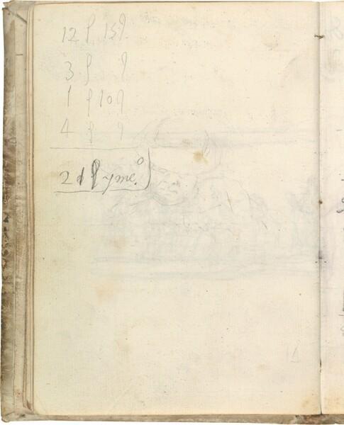 Apunte de figura masculina de busto, con sombrero