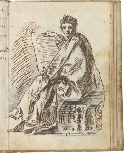 Figura femenina, Sibila (?), sentada sobre una sección de fuste estriado, con manto y sosteniendo un pergamino en sus manos