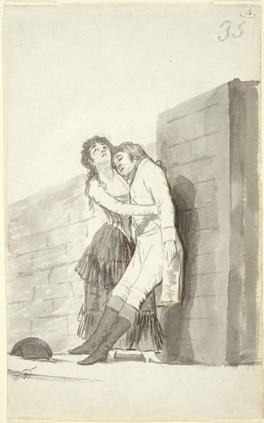 Mujer joven sosteniendo a su amante moribundo