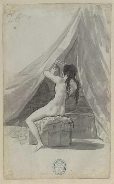Mujer desnuda con un espejo