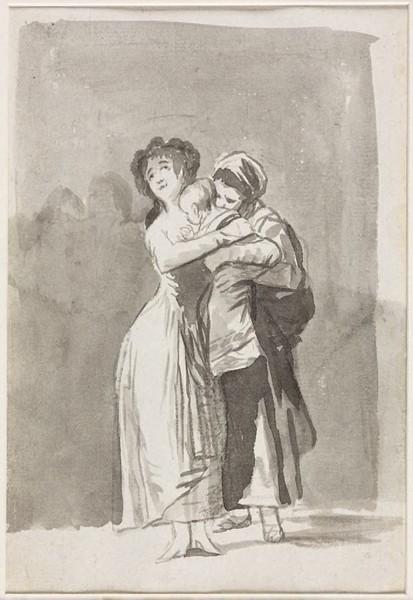 Joven tomando a un niño de los brazos de una sirvienta