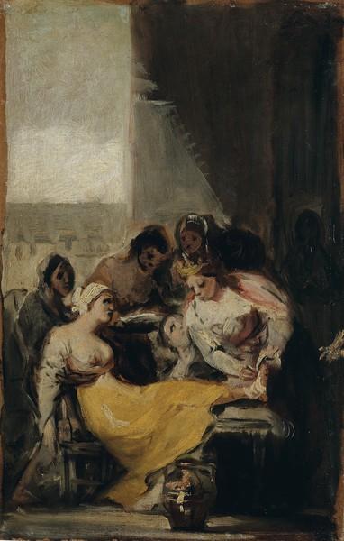 Santa Isabel de Portugal curando a una enferma (boceto)