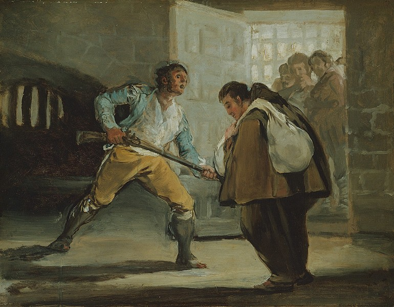 """El Maragato Threatens Friar Pedro de Zaldivia with his Gun (El """"Maragato"""" amenaza con un fusil a fray Pedro de Zaldivia)"""