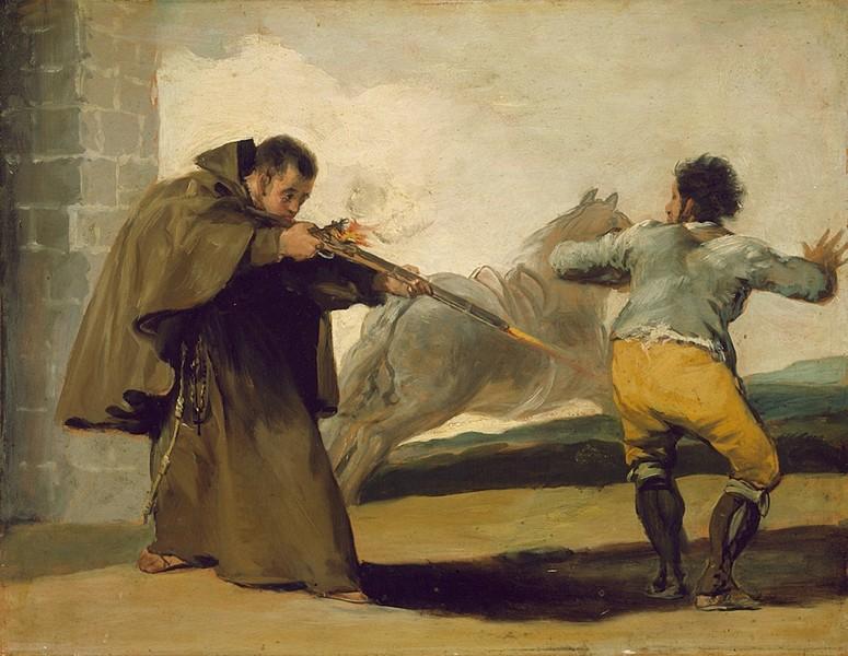 """Friar Pedro Shoots El Maragato (Fray Pedro de Zaldivia dispara contra el """"Maragato"""")"""