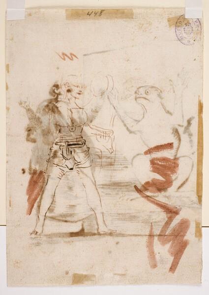Figura con cinturones de castidad, apuntes de dos figuras y rana