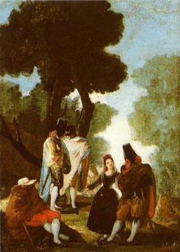 Maja and Cloaked Men (La maja y los embozados) (sketch)