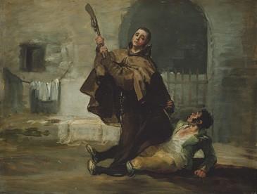"""Fray Pedro de Zaldivia golpea al """"Maragato"""" con la culata del fusil"""
