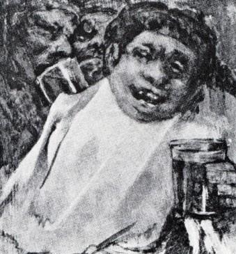 Tres hombres bebiendo