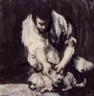 Hombre espulgando a un pequeño perro