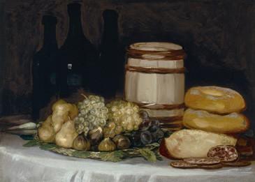 Naturaleza muerta con botellas, frutas y pan