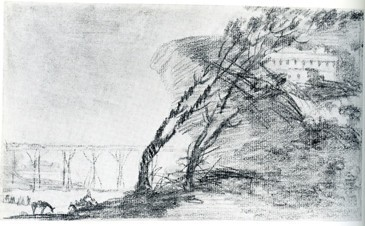 Paisaje con peñasco, edificios y árboles