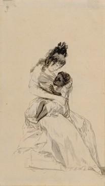 La duquesa de Alba teniendo en sus brazos a María de la Luz