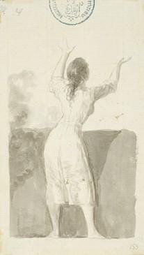 Mujer joven levantando los brazos