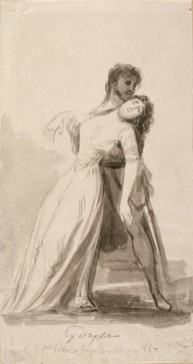 Mujer joven desmayándose en los brazos de un oficial