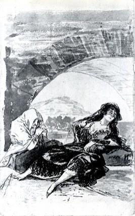 Maja y Celestina esperando debajo de un arco