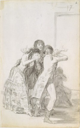 Mujer llorando con tres hombres