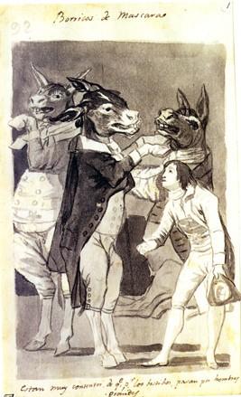 Borricos de máscara están muy contentos de que, por los vestidos, pasan por hombres grandes